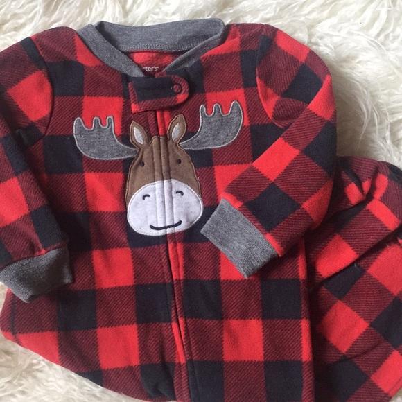 5f813e470 Carter's One Pieces   Baby Buffalo Plaid Moose Pjs   Poshmark